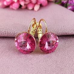 Серьги SW Розовый медицинское золото позолота 18К французский замок А/В 7-0144