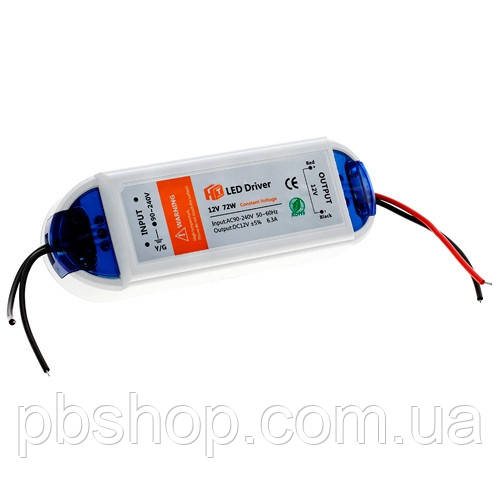 Блок живлення LED драйвер трансформатор AC-DC 220-12В 72Вт для LED-стрічок