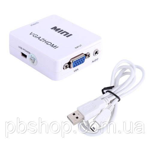 Конвертер VGA - HDMI, видео, аудио, 1080p, белый
