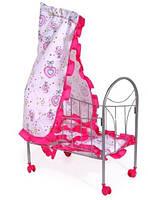 Кроватка для куклы на колесиках с балдахином