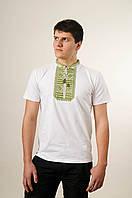 Оригінальна чоловіча вишиванка на короткий рукав у білому кольорі «Гладь (зелена вишивка)», фото 1