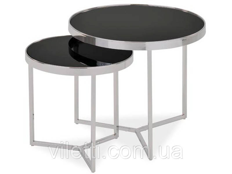 Набор кофейных столиков на хромированном основании Signal Delia II Черный (DELIAIICCH)