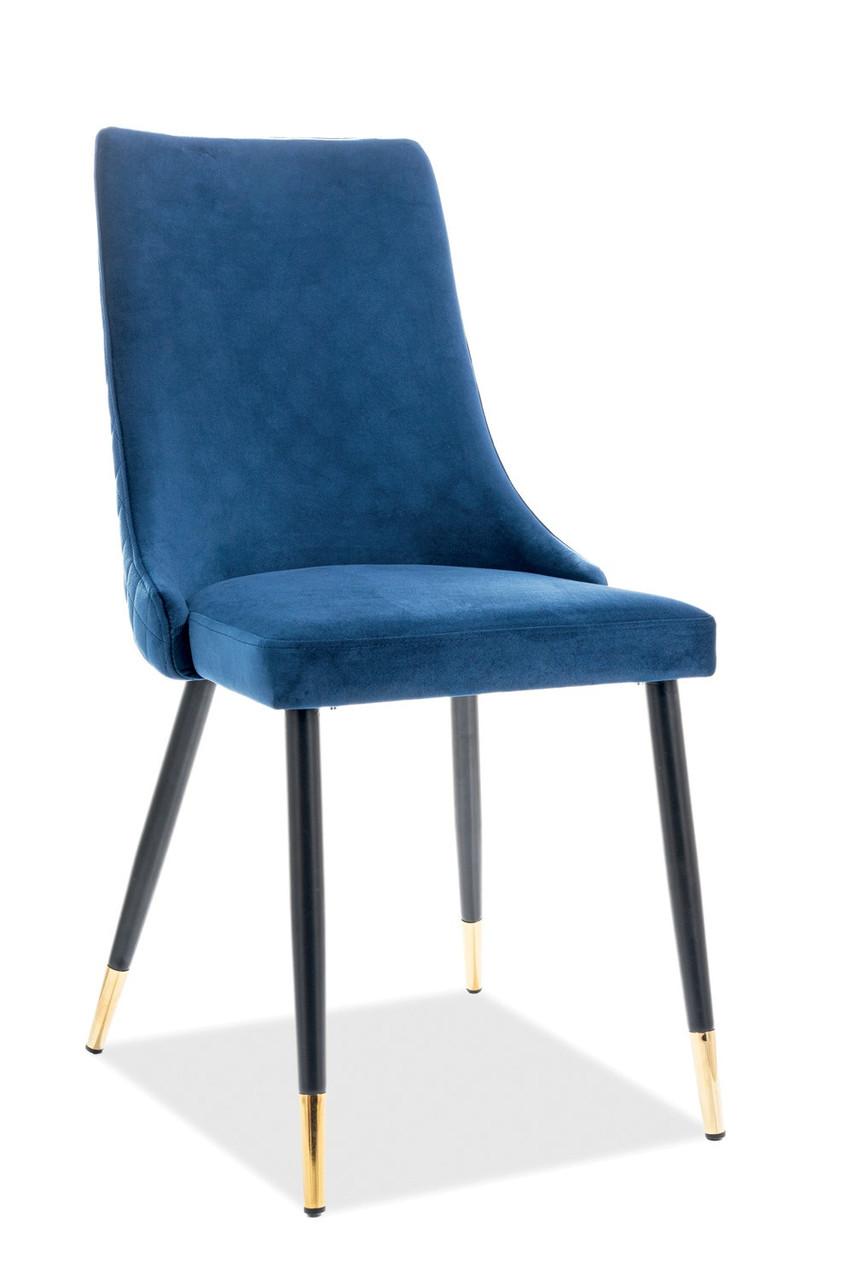Комфортный стул Signal Piano Velvet B1 Темно-синий (PIANOVCG) насыщеного синего цвета с золотом