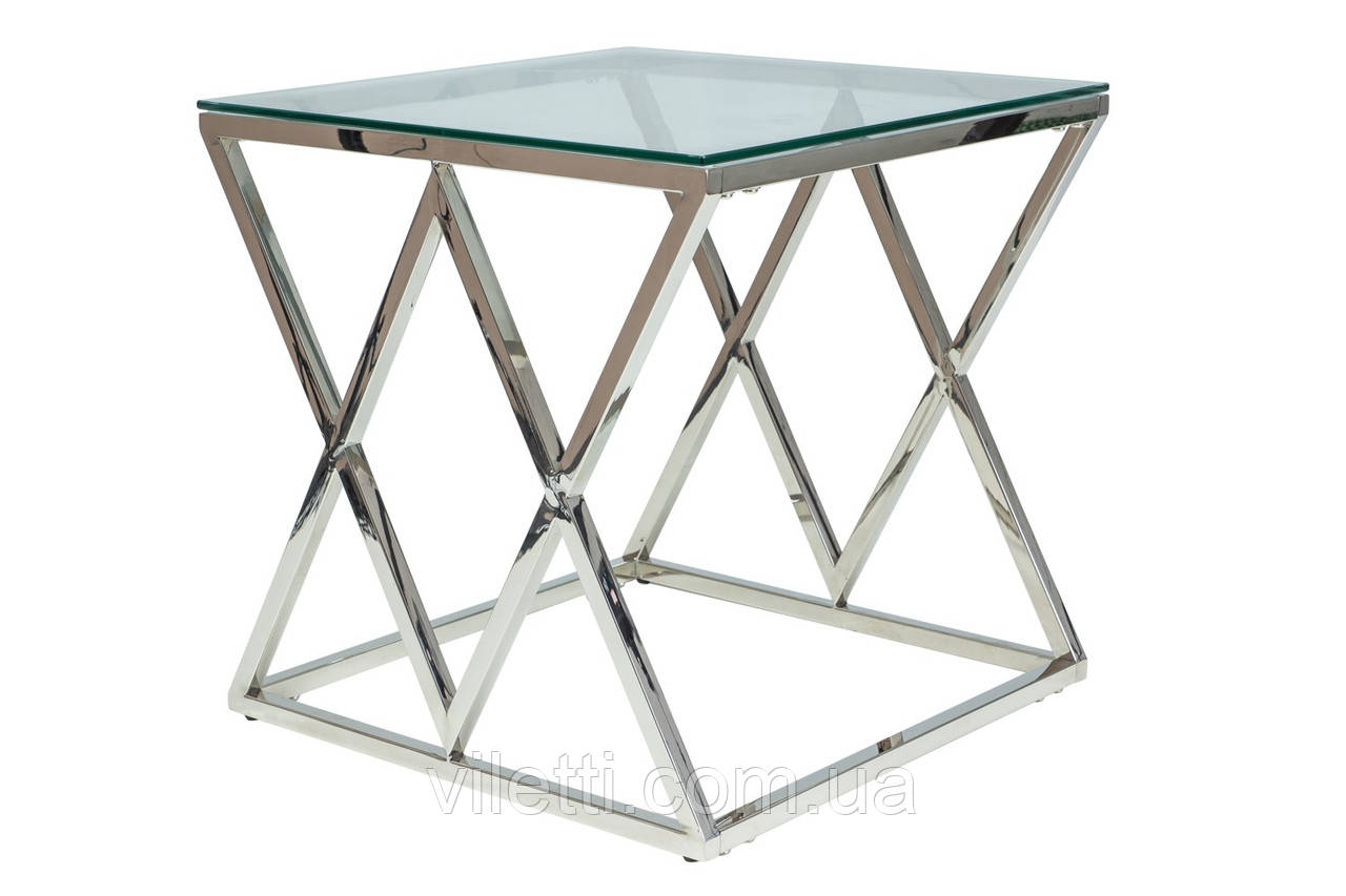 Журнальный стол хром + стекло, кофейный стильный столик Signal Мебель Zegna B Прозрачный (ZEGNABS)