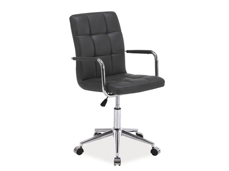 Темно-сіре крісло еко-шкіра з підлокітниками Signal Q-022 Сірий (OBRQ022SZ) на соврменной хрестовині