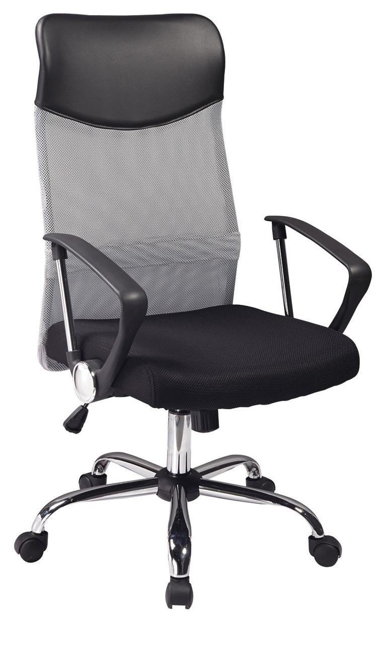 Кресло руководителя офисное с подлокотниками ткань+эко-кожа Signal Q-025 Серый (OBRQ025CS)