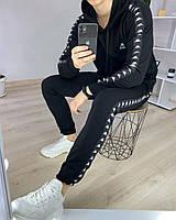 Черный мужской спортивный костюм Kappa | Мужской костюм Kappa с лампасами