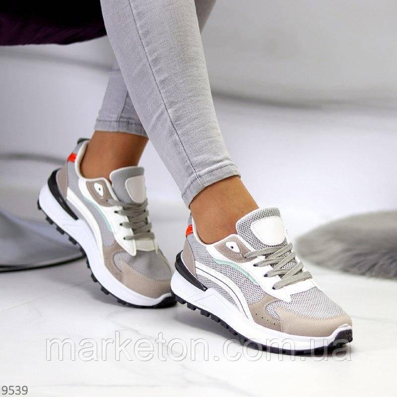 """Жіночі стильні кросівки Сірі з білим """"Gvaj"""""""