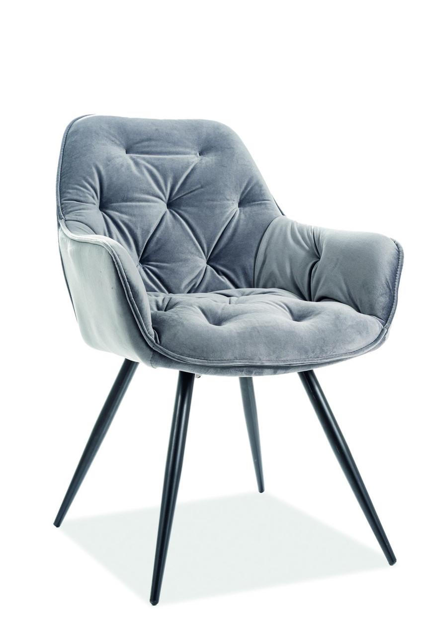 Крісло сіре на чорних ніжках з металу Signal Cherry Velvet Сірий (CHERRYVCSZ)