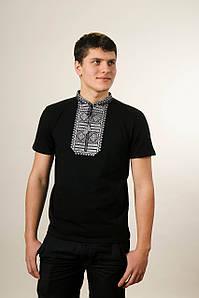 Стильная мужская вышитая футболка на лето в патриотическом стиле «Гладь (серый орнамент)»
