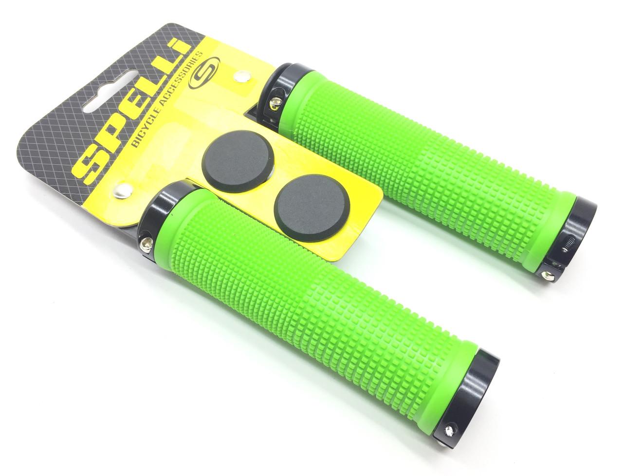 Грипсы Зеленые с Черными замками длина 130 мм