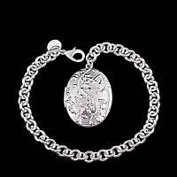 Браслет медальйон с тайником овал покрытие 925 серебро проба