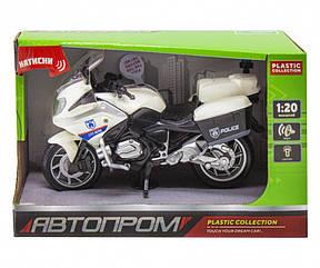Мотоцикл Автопром со звуковыми эффектами белый 7962