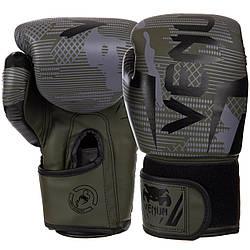 Рукавички боксерські PU на липучці VENUM BO-2533 (чорний-зелений камуфляж) (14 унцій)