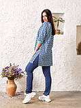 Летний костюм женский Джинсовая туника на пуговицах и трикотажные штаны Размер 48 50 52 54 56, фото 4