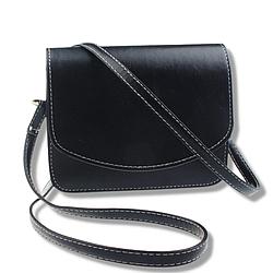 Мини сумка на плечо,  клатч на магнитной застежке, черная маленькая сумка на длинном ремешке, L-6766-10