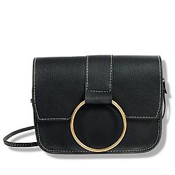 Маленькая женская сумочка на длинном ремешке из кожзама, Черный клатч AL-7342-10