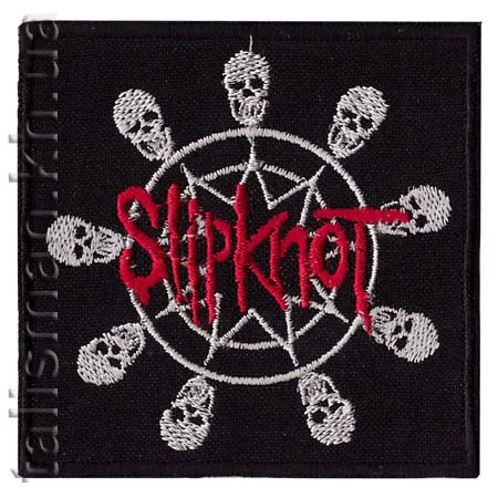 Нашивка с вышивкой SLIPKNOT 4 skulls in a circle