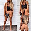 Женский стильный костюм-тройка: майка, шорты и удлиненный пиджак