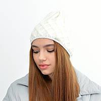 Жіноча шапка veilo на флісі 5521 молочний, фото 1