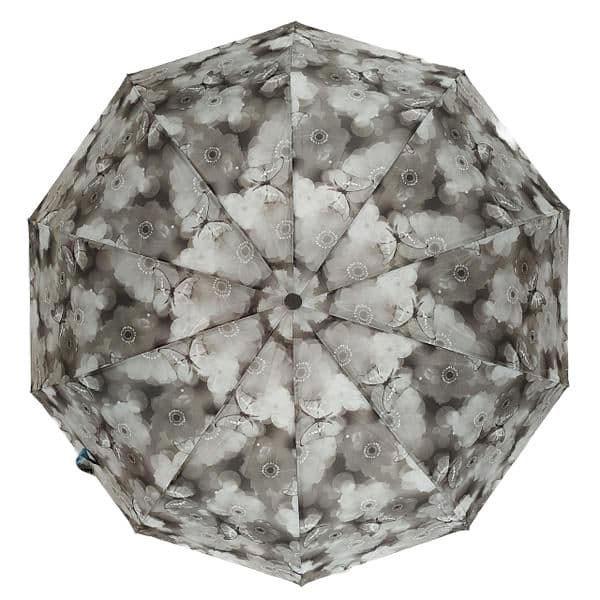 "Женский зонтик-полуавтомат на 10 спиц  ""La-la land"",  от SL, серый, 499-1"
