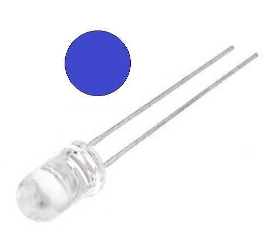 Светодиод 5 мм Синий прозрачный VF