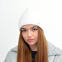 Жіноча шапка veilo на флісі 5503 молочний, фото 1
