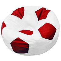 Велике безкаркасне крісло-м'яч 120х120 (білий/червоний) Oxford 600 Den, фото 1
