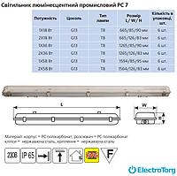 Светильник люминесцентный промышленный PC7 2х36Вт IP65 G13 Delux