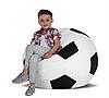 Дитяче безкаркасне крісло-м'яч 70х70 (білий/чорний) Oxford 600 Den