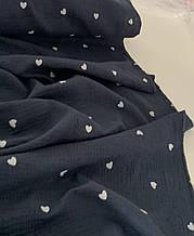Муслин (хлопковая ткань) сердечки на синем