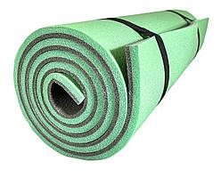 """Каремат для йоги 1800×600×12мм, """"Карпаты"""" двухслойный, зеленый/серый"""