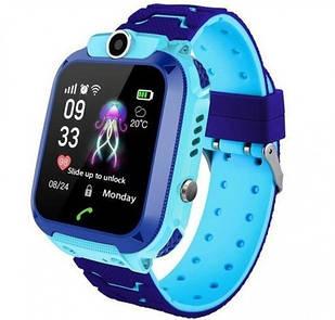 Смарт-часы детские с LBS Q12, голубые
