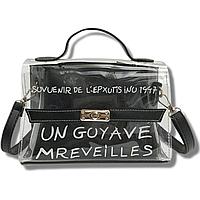Прозрачная сумка с косметичкой внутри Эрика 2в1, Черный силиконовый клатч, женская сумка тренд 2021 СС-3630-10