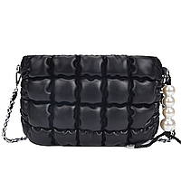 Мини сумка клатч женская, сумка-подушка, стеганая черная сумка  CC-3721-10