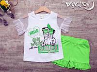 Трикотажный  комплект c шортами для девочек, Размеры 2-5 лет Турция, фото 1