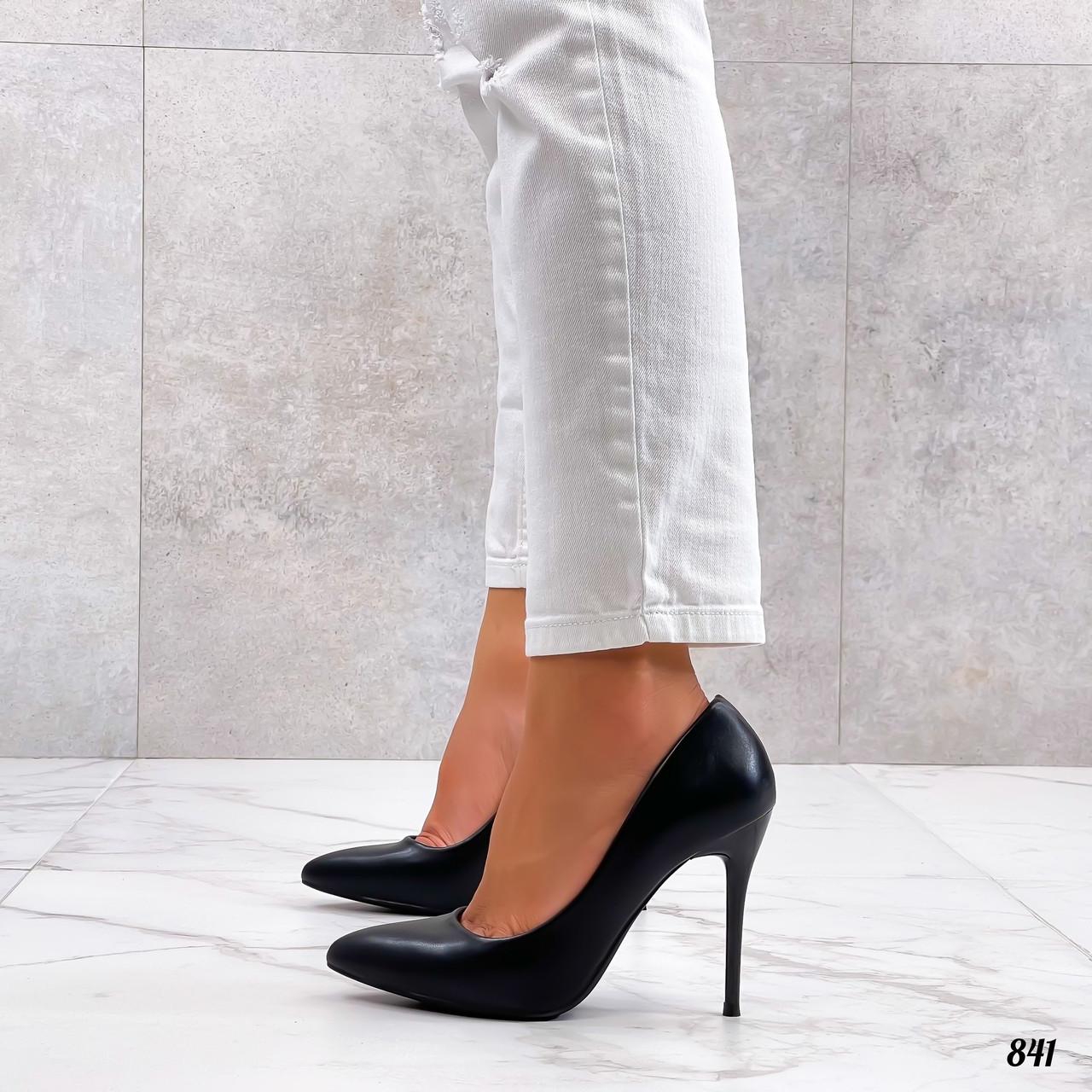 Черные кожаные туфли на шпильке 10 см