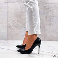 Черные кожаные туфли на шпильке 10 см, фото 1