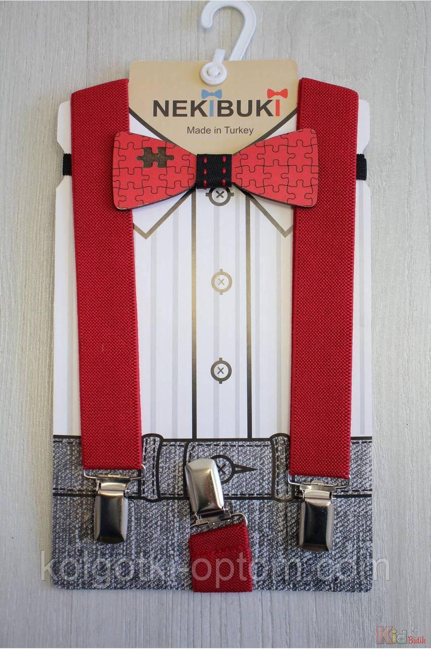 """ОПТОМ Бабочка деревянная с подтяжками красными """"Пазл"""" Nekibuki 2125000715186"""