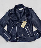 Куртка кожаная косуха женская чёрная, фото 3