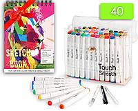 Набор маркеров двусторонних Touch Smooth 40 цветов +Альбом для скетчинга А5 20 листов плотность 250 г/м2