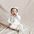 Трикотажный человечек-комбинезон Magbaby Nory демисезон молочный, фото 7