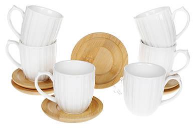 Кофейный фарфоровый набор BonaDi: 6 чашек 150мл с бамбуковыми костерами Naturel 32см 289-320