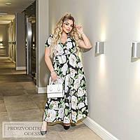 Платье цветочный принт big size