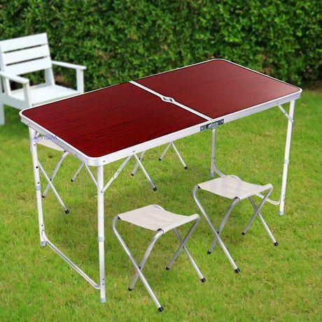 Складной стол для пикника 120 х +60 см + 4 стула, Folding Table Кемпинговый стол Раскладной стол