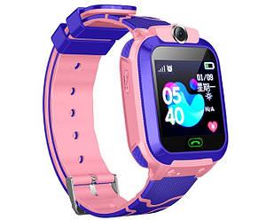 Смарт-часы детские с LBS Q12, розовые