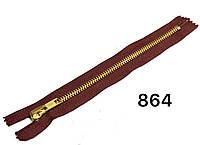 Молния металлическая джинсовая Бордовый с золотом 18см Тип5 автомат