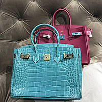 Женская сумка Гермес Биркин 30 см кроко бирюза (реплика)