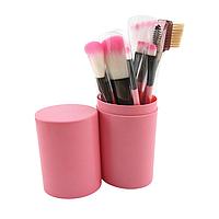 Набор кистей для макияжа в тубусе 12 шт., розовые. Кисти для макияжа.