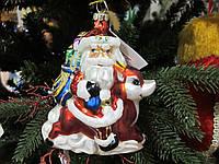 Новогодняя Игрушка Стекло формовка Санта на Оленем и мешком
